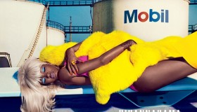 Rihanna rocks a blonde wig in the new shoot.