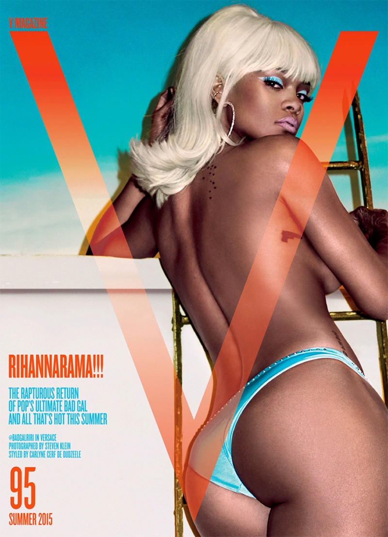 Rihanna stars on the summer 2015 cover of V Magazine photographed by Steven Klein.
