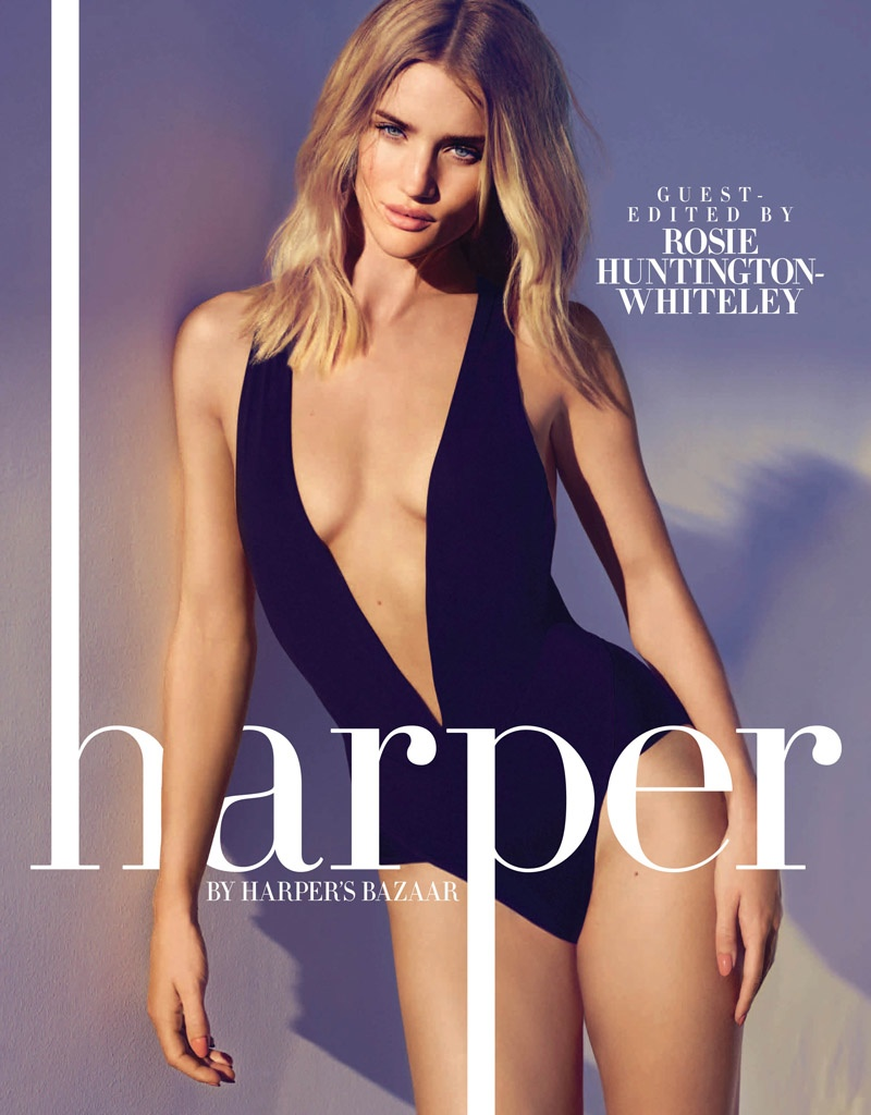 Rosie Huntington-Whiteley Poses Poolside for harper by Harper's Bazaar