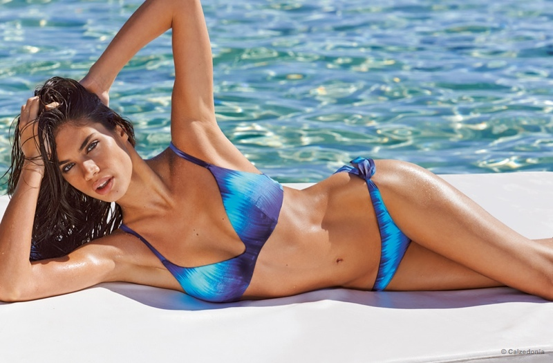 Sara Sampaio is back as the face of Calzedonia's 2015 swimsuit campaign