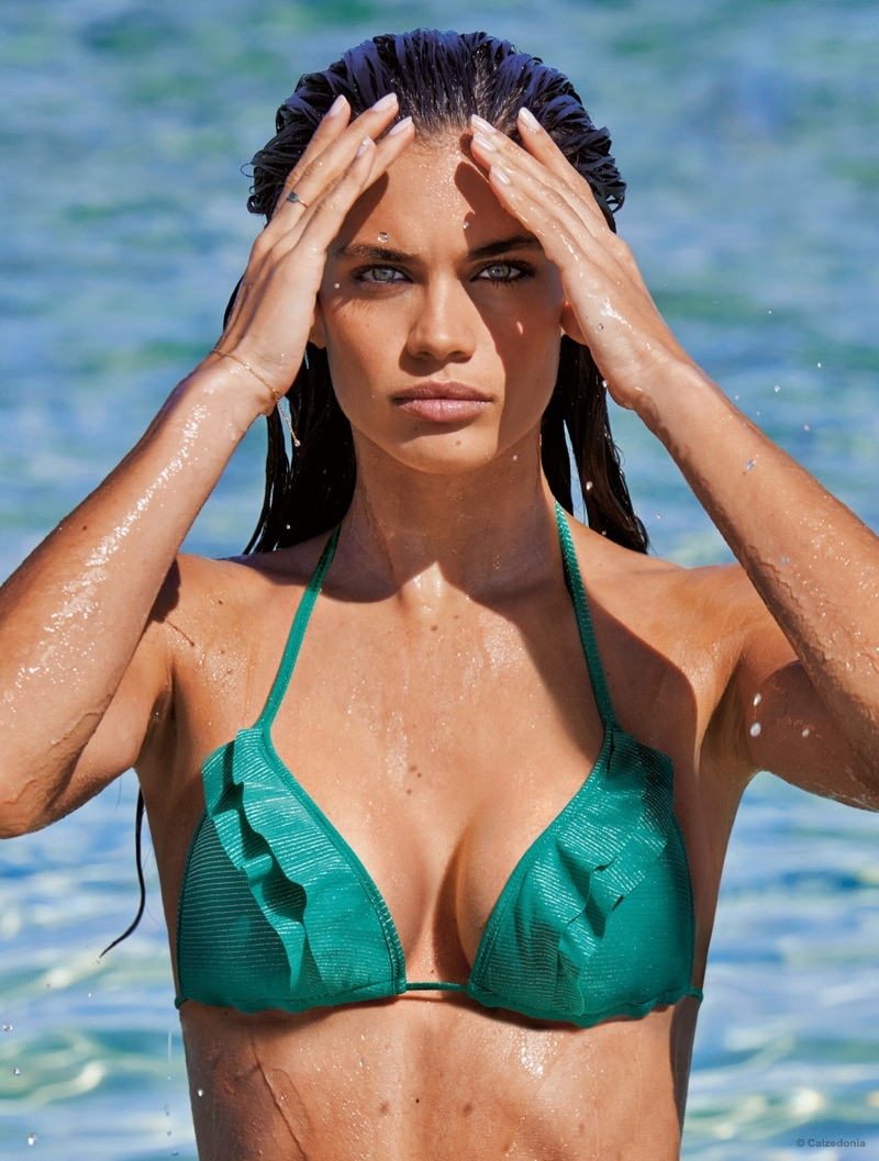 Sara Sampaio posed in Ibiza for the latest Calzedonia ads