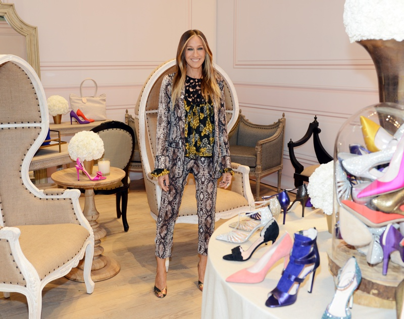 Sarah Jessica Parker wears Smythe python print blazer and pants at Zappos pop-up boutique for SJP shoes. Photo: Zappos Couture