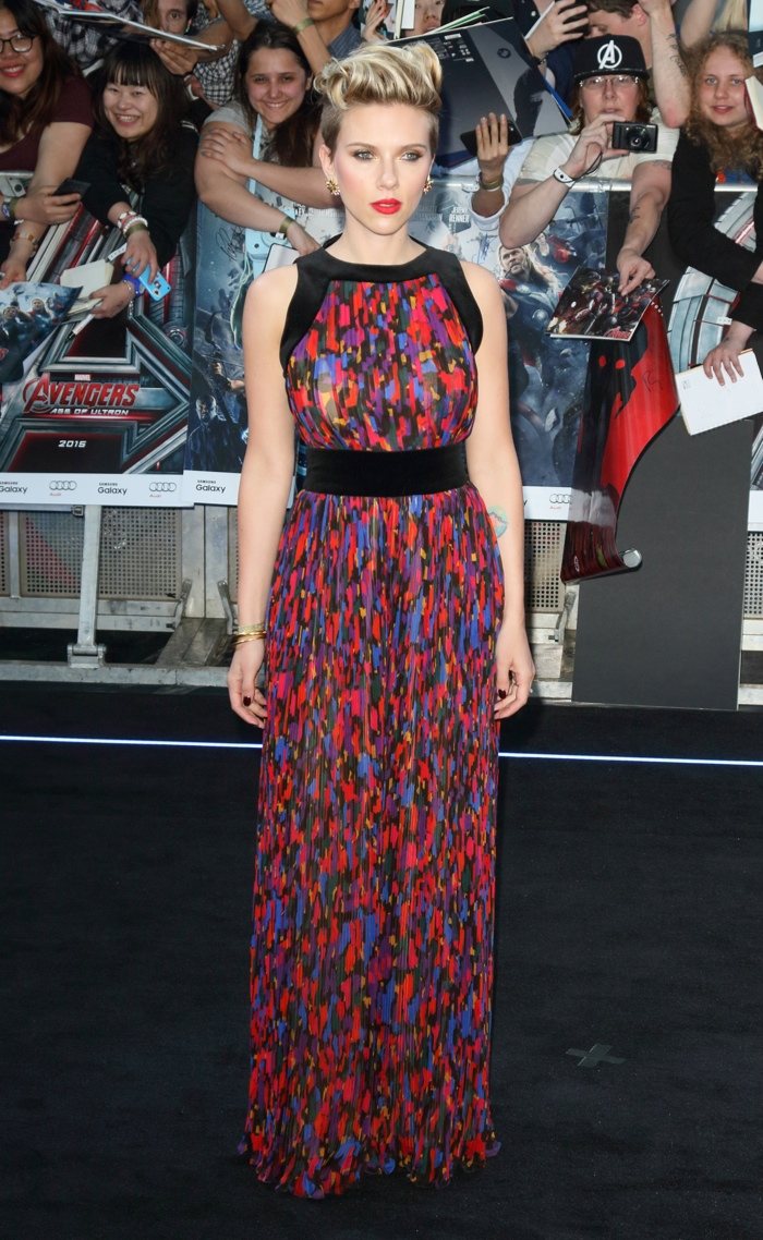 Scarlett Johansson wears a Balmain jumpsuit at 'Avengers: Age of Ultron' London Premiere. Photo: Landmark / PRPhotos.com