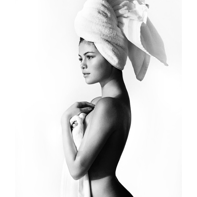 Selena Gomez goes nearly naked for Mario Testino's 'Towel Series'. Photo via Instagram.
