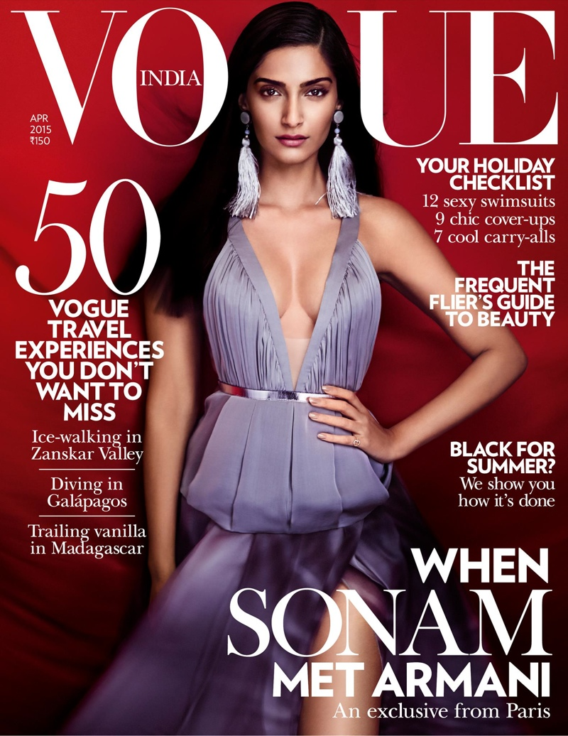 Sonam Kapoor dazzles on the April 2015 cover of Vogue India