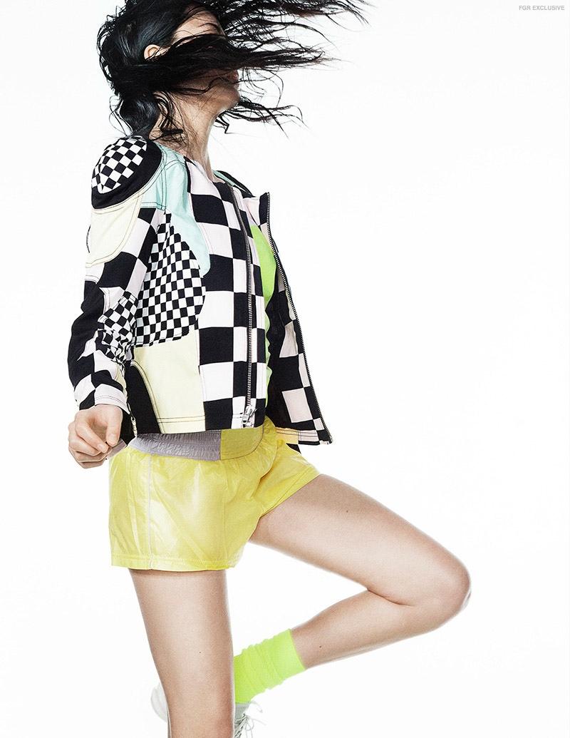 Shorts Adidas by Stella McCartney, Top Nike, Jacket Love Moschino, Socks Soc, Shoes Nike
