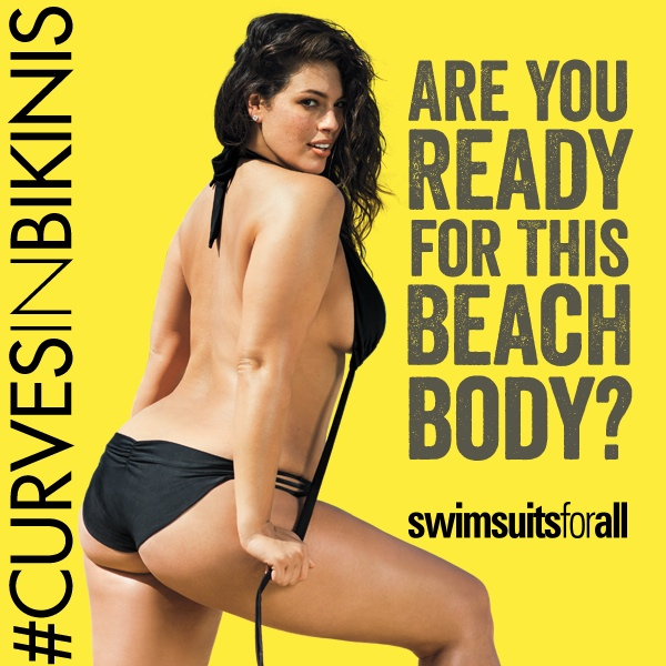 SwimsuitsforAll hit back at Protein World's 'Beach Body' ad with this image featuring plus-size model Ashley Graham.