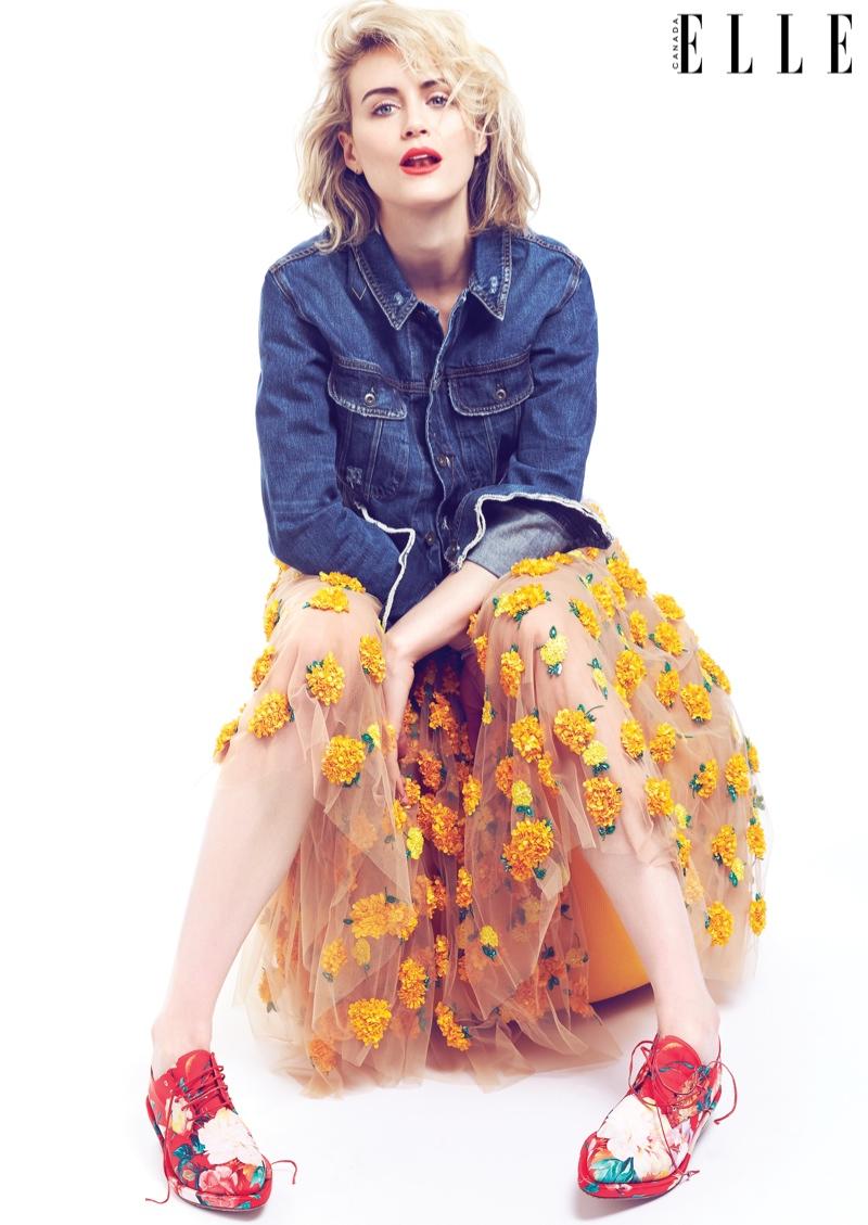 Taylor Schilling Sports Denim & Florals for ELLE Canada