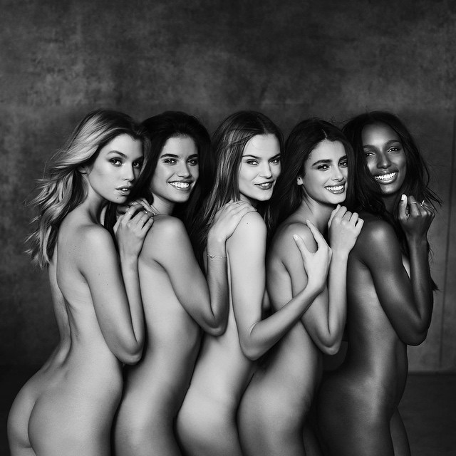 The new Victoria's Secret Angels go nude for sexy black and white image.