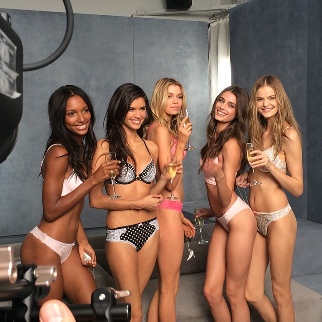 Jasmine Tookes, Sara Sampaio, Stella Maxwell, Taylor Hill and Kate Grigorieva celebrate the shoot.