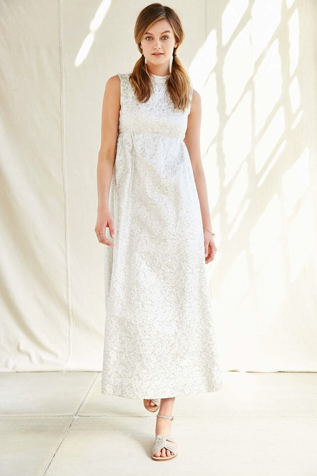 Vintage Silver Brocade Gown available for $498