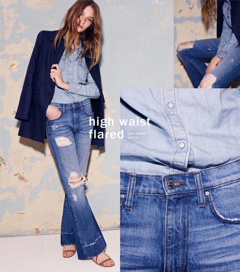 Zara shows off the high-waist denim trend for spring