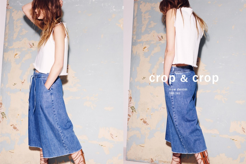 The fashion brand spotlights the cropped denim look