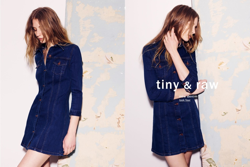 A denim mini dress is offered for spring