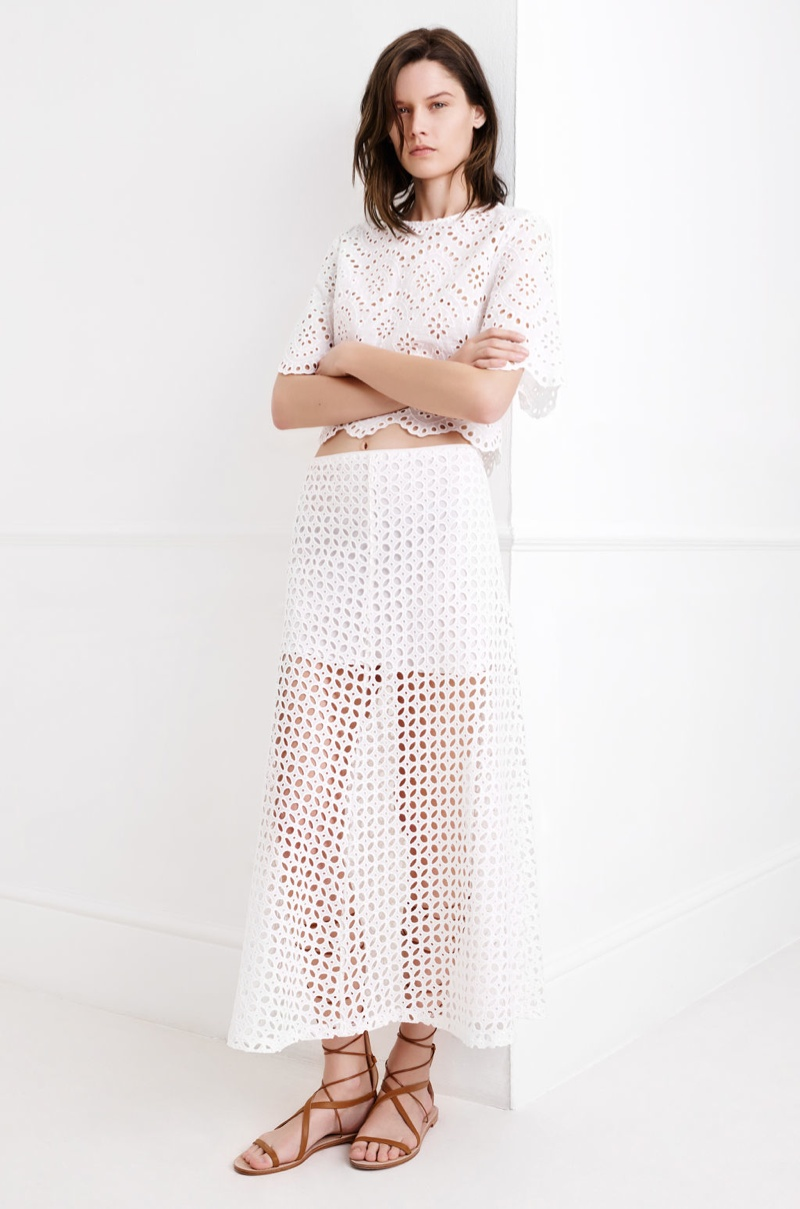 A semi-sheer skirt offers a playful take on the all white look
