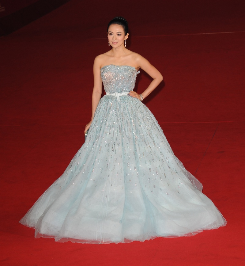 Chinese actress Zhang Ziyi was ethereal in a baby-blue embroidered gown from Dior's resort 2011 collection a the Rome Film Festival. Featureflash / Shutterstock.com