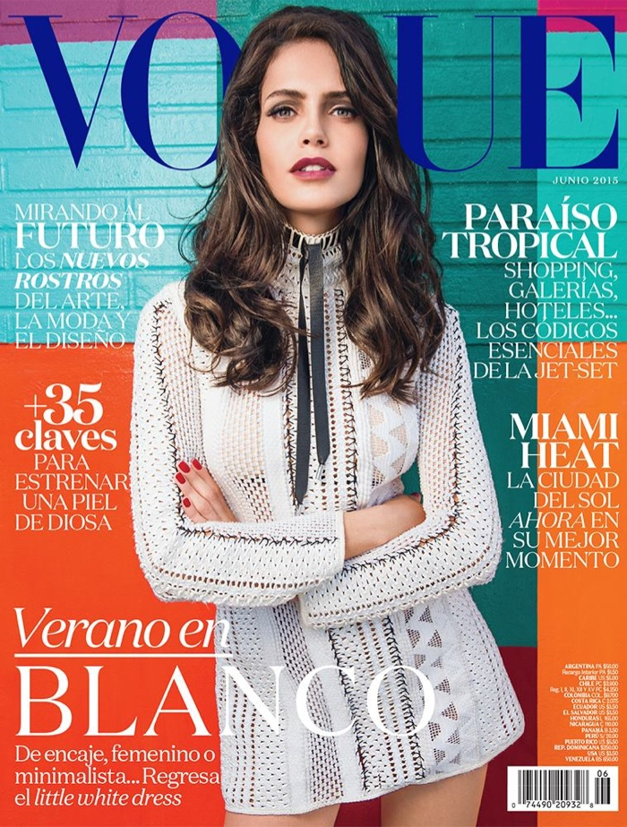 Amanda Wellsh wears Louis Vuitton on the June 2015 cover of Vogue Mexico