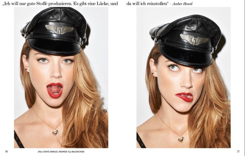Amber models a biker hat