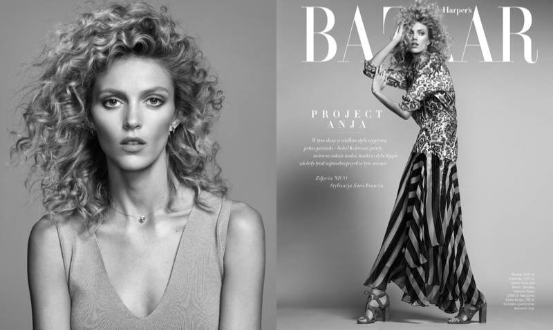 Anja models a curly hairstyle in the fashion editorial