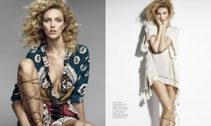 Anja Rubik Sports Curly Hairstyle for Cover Story of Harper's Bazaar Poland