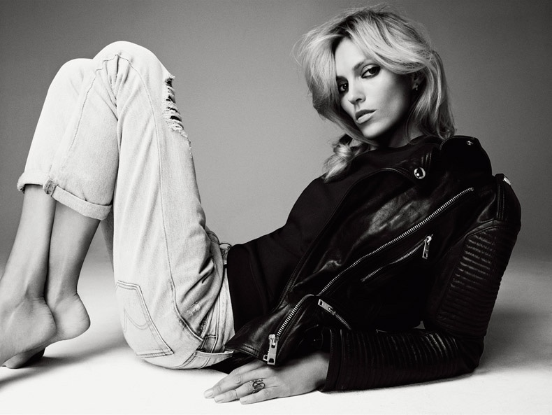 ... Anja rocks a leather jacket with a black top and ripped denim