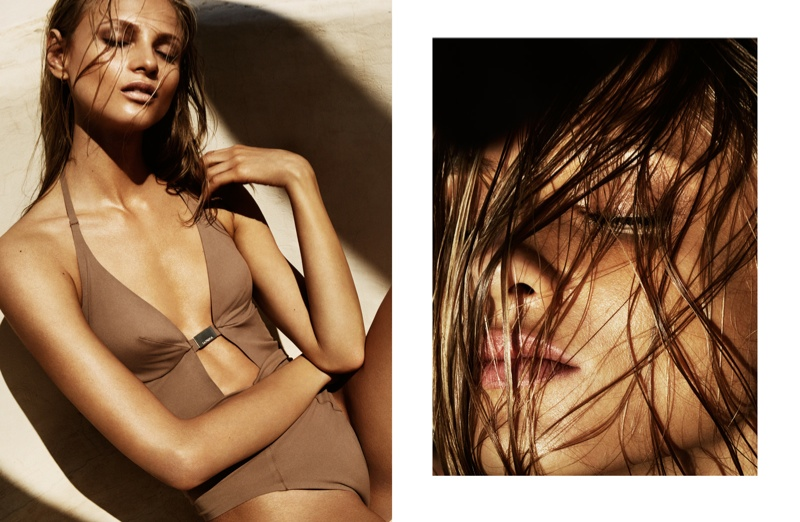 The Russian model wears a cut-out swimsuit for the feature