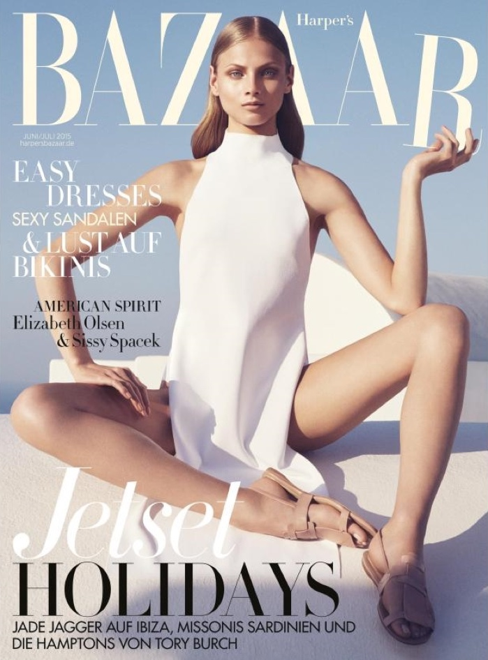 Anna Selezneva looks ethereal in white for the June/July 2015 cover of Harper's Bazaar Germany