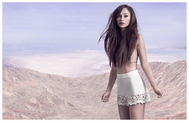 Cara Santana embraces an editorial look with teased hair.