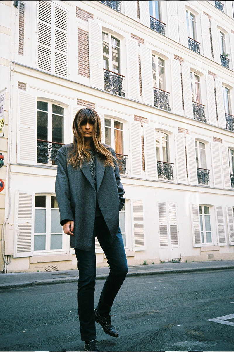 The French model was photographed around Paris in autumn styles