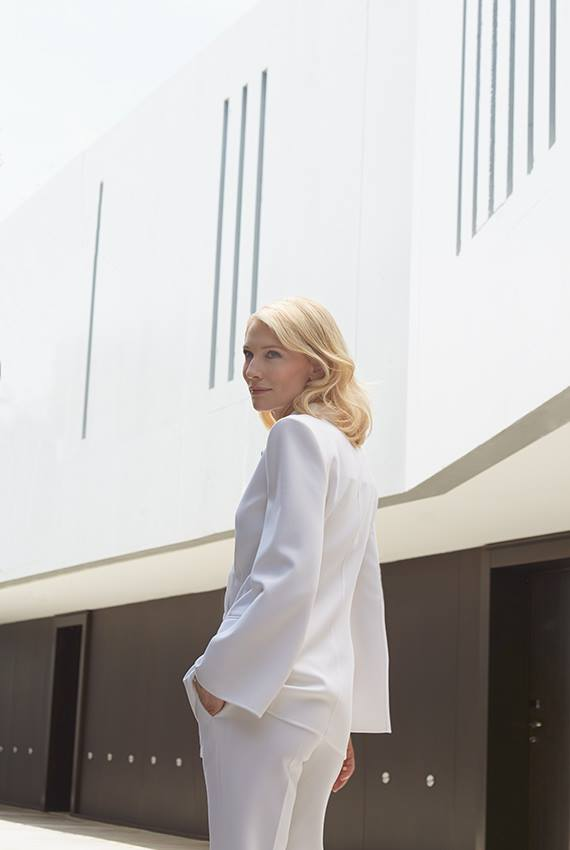 Cate Blanchett wears white Armani pant suit at preview of new 'Si' campaign at Cannes