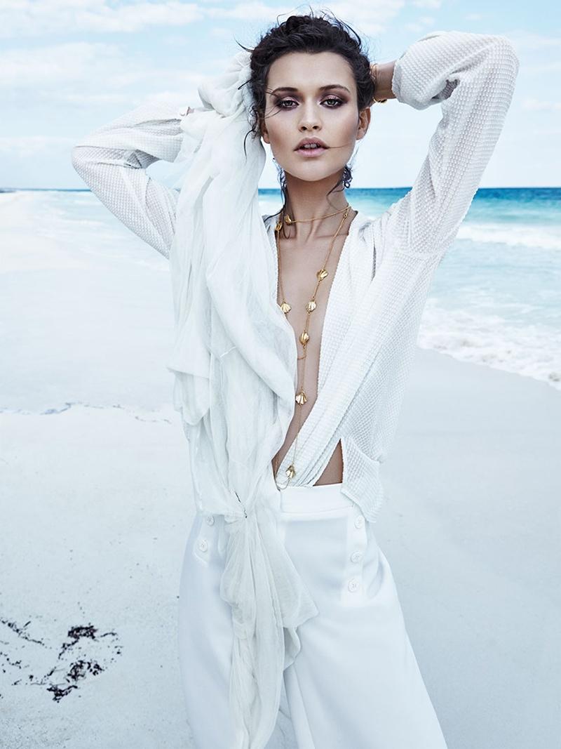 Chloe Lecareux Models Ethereal Beach Style for TELVA