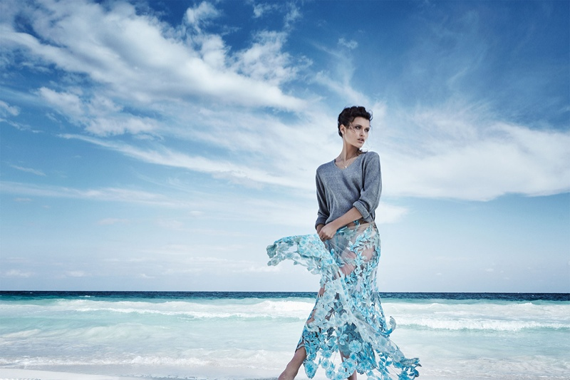 A sheer and floral skirt in blue makes quite the statement