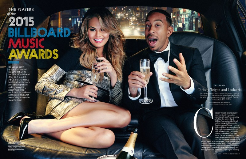 Chrissy Teigen and Ludacris toast to the 2015 Billboard Music Awards.