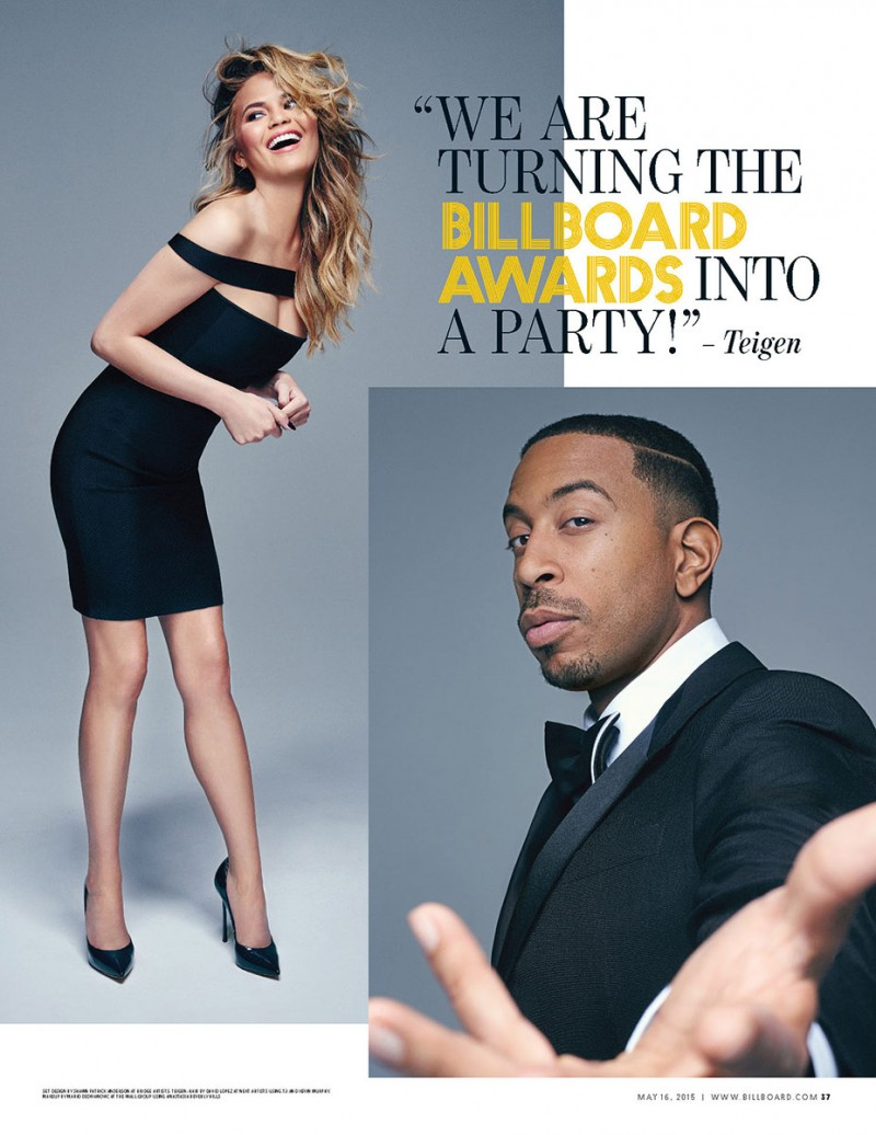 Chrissy Teigen and Ludacris deliver formal looks in a photo shoot.