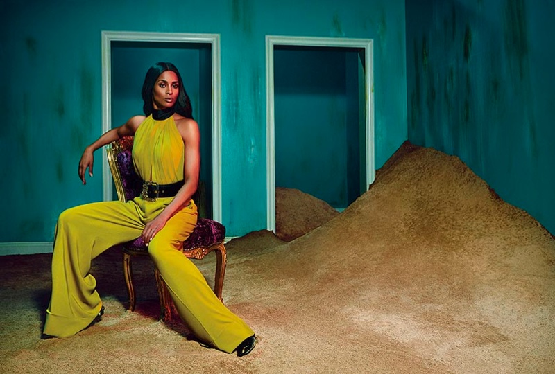 Ciara stuns in a yellow jumpsuit