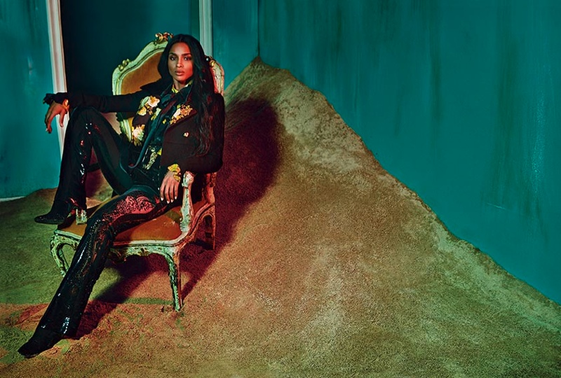 Ciara suits up in lacquered pants and a suit jacket