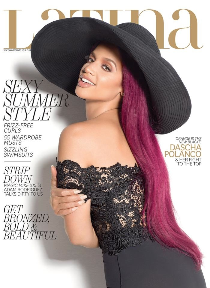 Dascha Polanco sports a purple hairstyle for her Latina Magazine cover