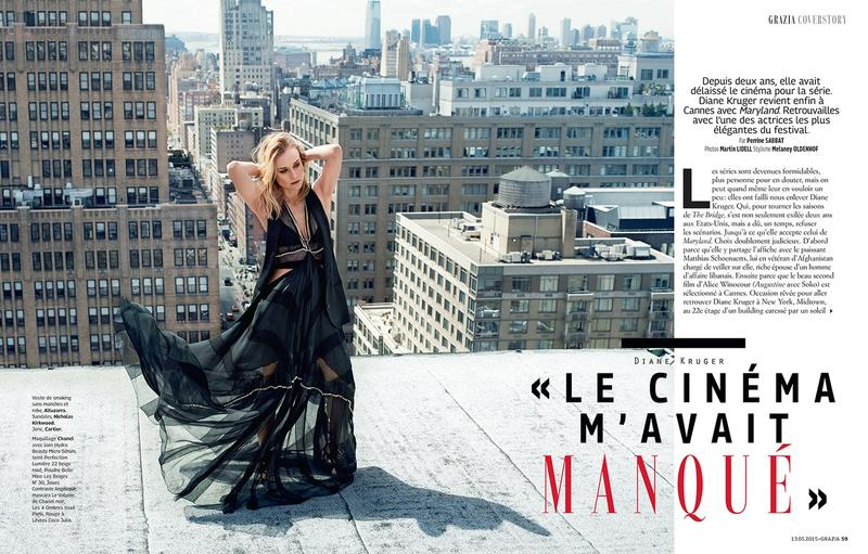 Diane Kruger is photographed on a rooftop for the fashion shoot.