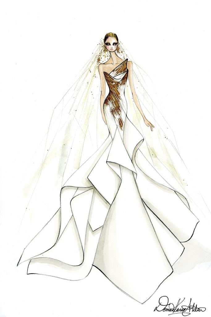 Karl lagerfeld alexander wang more designers sketch lady for Donna karan wedding dresses