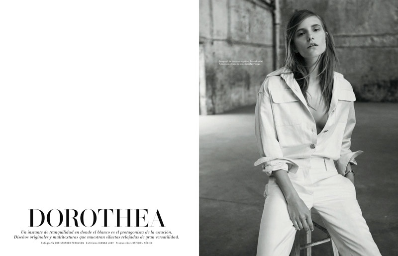 The Swedish model wears all white looks for the editorial
