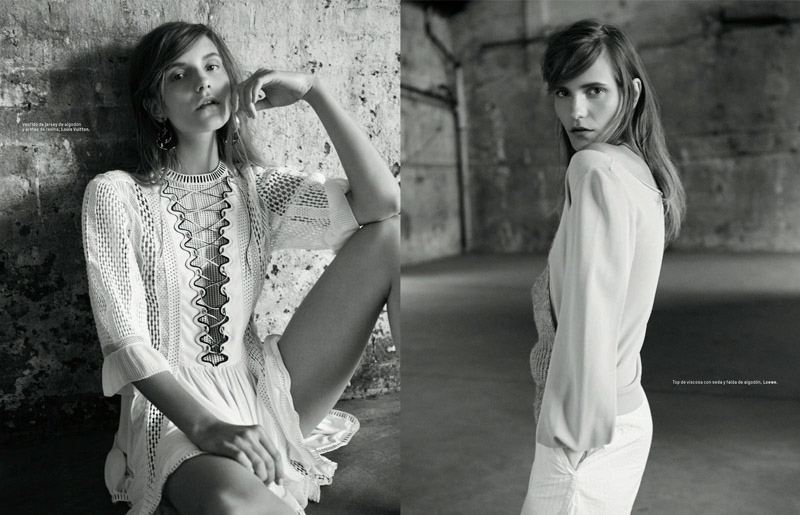 (L) Dorothea poses in white Louis Vuitton dress (R) Dorothea wears top and pants from Loewe