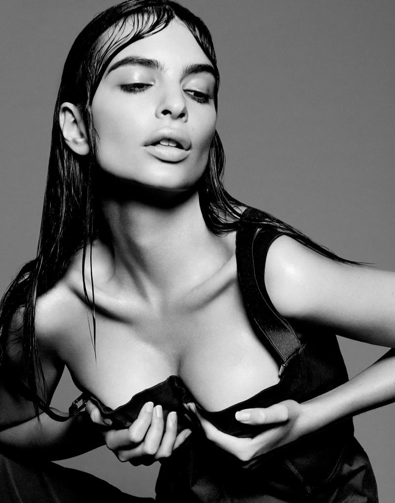 The model and actress flaunts her curves in the black and white photo shoot