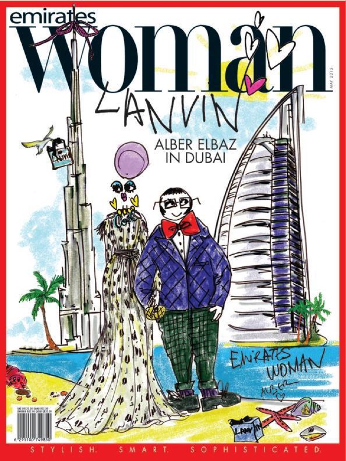 Alber Elbaz illustrates a cover for the May 2015 issue of Emirates Woman