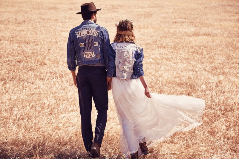 FP even offers denim jackets for wedding day attire