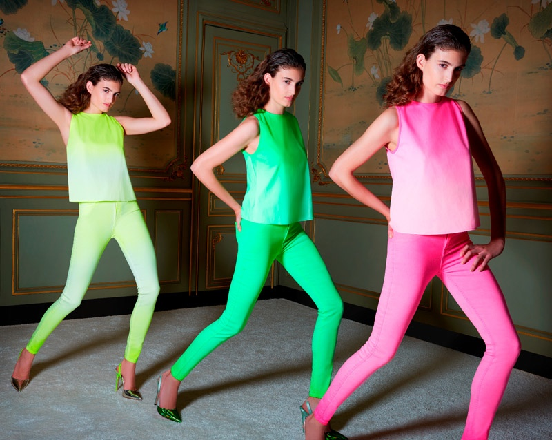 Giambattista Valli and 7 for All Mankind spotlight bright neon colors for the collaboration
