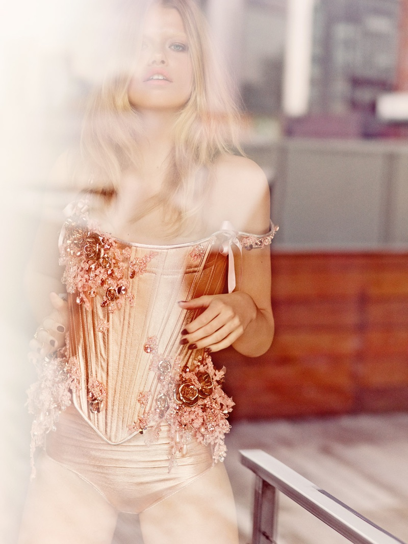 Hailey models a metallic corset look