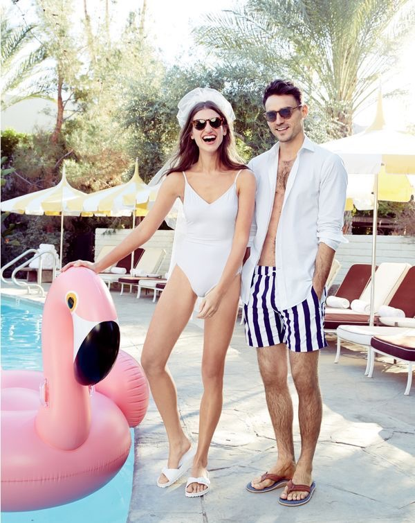The Bride And Groom Pose Poolside For Their Honeymoon