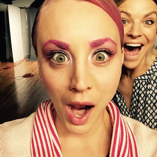 Forget bleached eyebrows, Kaley Cuoco shows off pink eyebrows in a recent Instagram update
