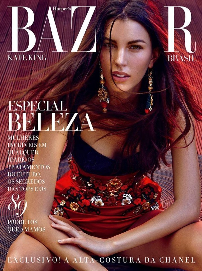 Kate King wears Dolce & Gabbana on the May 2015 cover of Harper's Bazaar Brazil