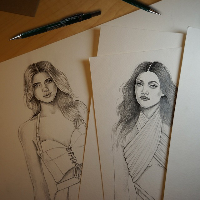 Sketches of the Kendall + Kylie Jenner collection for Topshop
